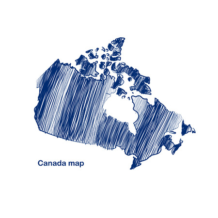 Canada map hand drawn background Vector