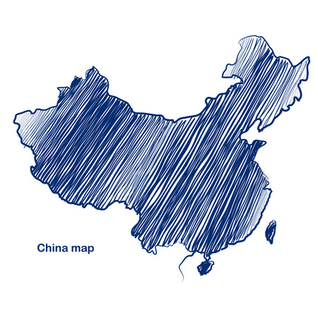 china map: China map hand drawn background  Illustration