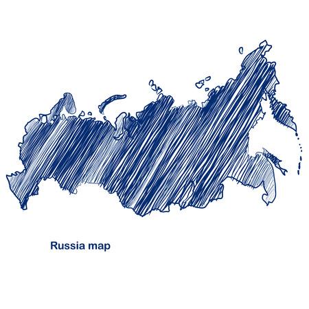 russland karte: Russland Karte Hand gezeichnet Hintergrund