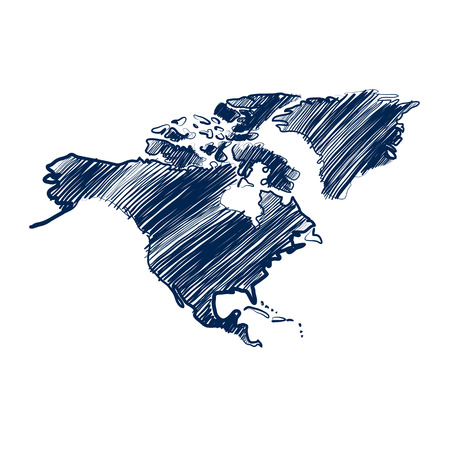 the ocean state: north america map hand drawn background