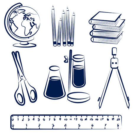 Set of school items doodles  Back to school hand drawn  Illustration