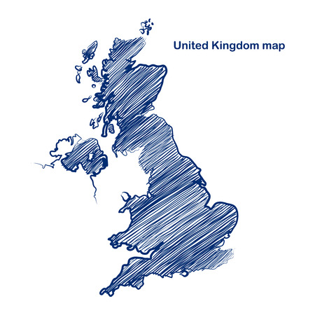 british isles: United Kingdom map hand drawn background