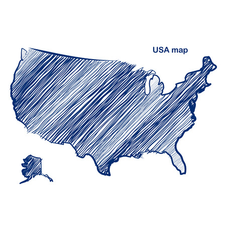 map of the united states: USA map hand drawn background  Illustration