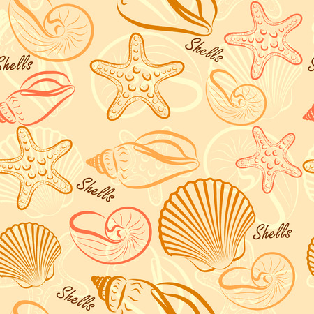 seashells seamless pattern background Vector