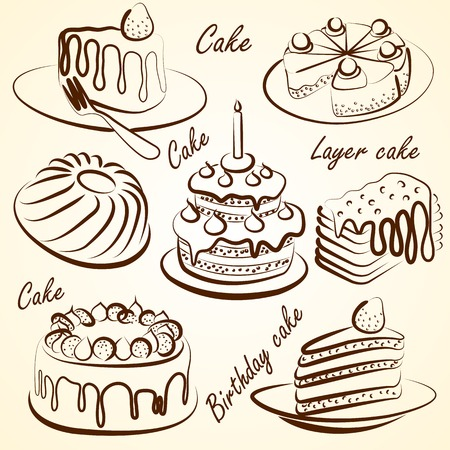 hand drawn cake and Doodles set on white  Vector