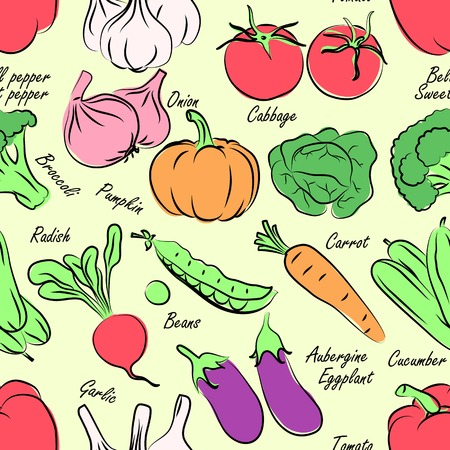 Vegetables seamless pattern background Vector