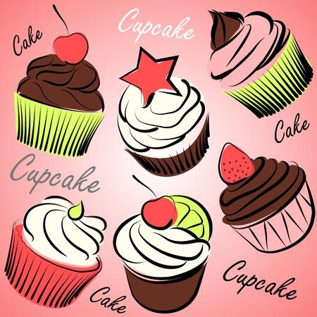 Sweet cupcakes hand drawn doodles  set vector ,illustration Vector