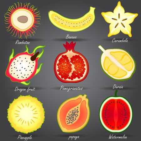 fruit du dragon: Collection de fruits d�finir vecteur, illustration Illustration