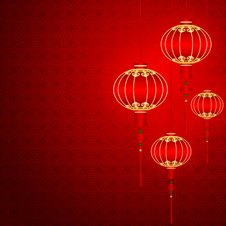 Chinese traditional red lanterns on Seamless Pattern Background Vector