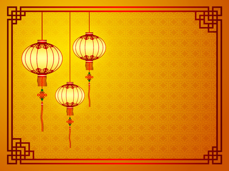Chinese traditional template with lanterns on Seamless Pattern Background Vector