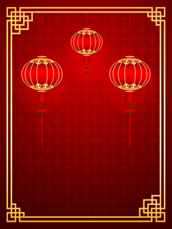 Chinese traditional template with lanterns on Seamless Pattern Background Illusztráció