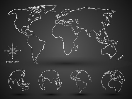World Map Globe hand drawn Vector Illustration