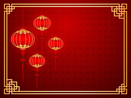 Chinese traditional template with red lanterns on Seamless Pattern Background
