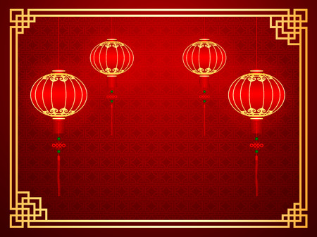 chinese symbol: Chinese traditional template with red lanterns on Seamless Pattern Background