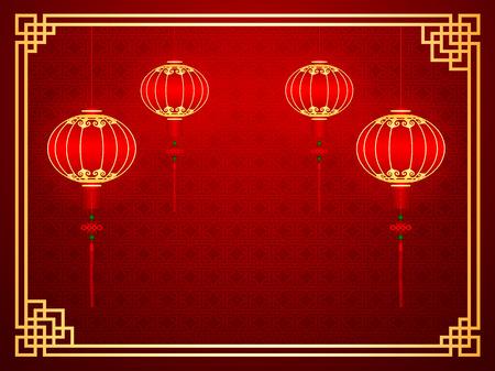 Chinese traditionele sjabloon met rode lantaarns op naadloze patroon achtergrond