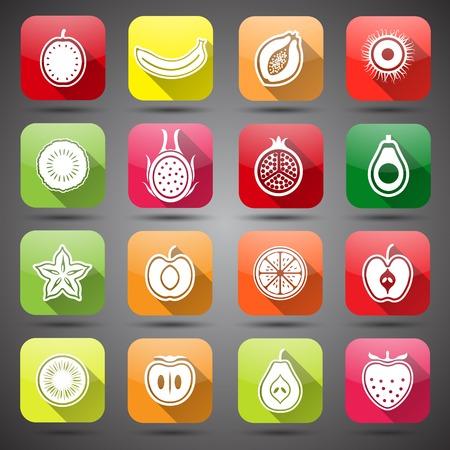 rambutan: Collection of Fruits set hand drawn vector,illustration