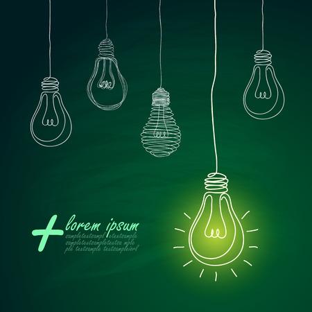 green light bulb: idea concept with light bulbs on blackboard background Illustration