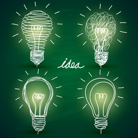 green bulb: idea concept with light bulbs on blackboard background Illustration