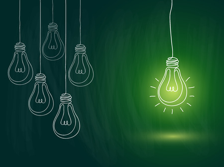 idea concept with light bulbs on blackboard background Illustration