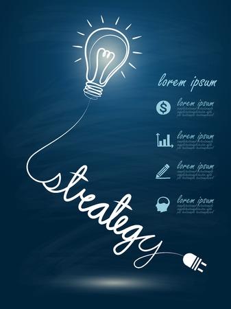 ligh: idea concept with light bulbs on blue background
