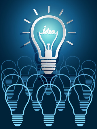 idea concept with light bulbs on blackboard background Vector
