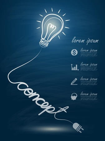 ligh: idea concept with light bulbs on blackboard background Illustration