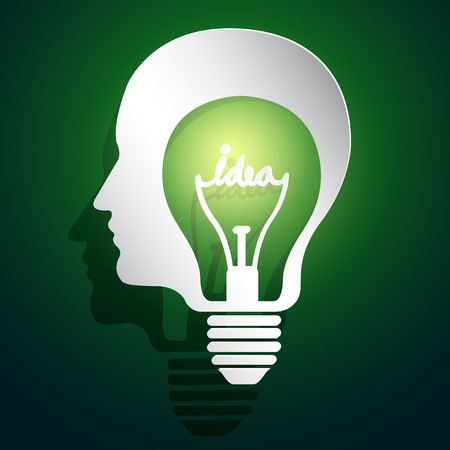 head idea concept with light bulbs on blackboard background Vector