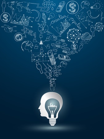 head idea concept with light bulbs on blue background Vector
