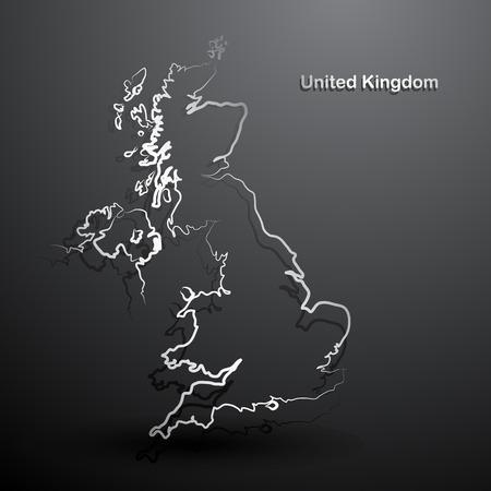 Royaume-Uni carte main fond dessiné vecteur, illustration
