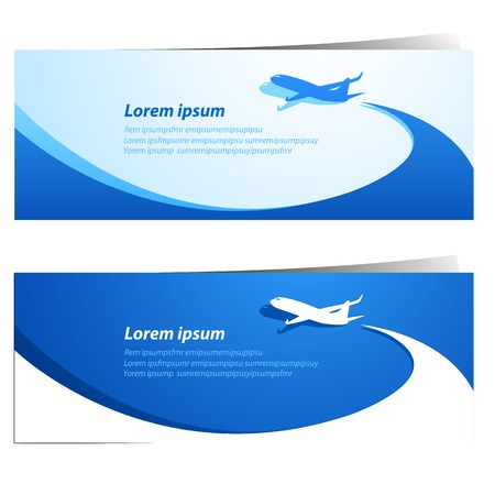 Airplane travel banners vector illustration