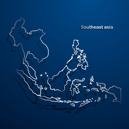 southeast: Southeast asia  map hand drawn background vector,illustration