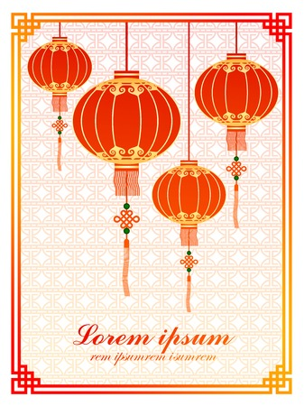 Chinese traditional template with red lanterns on Seamless Pattern Background Vector