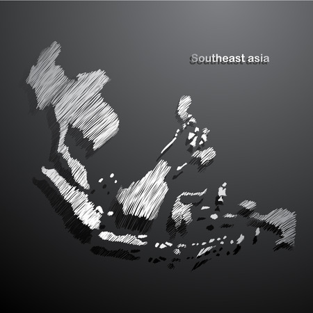 southeast: Southeast asia map hand drawn background illustration