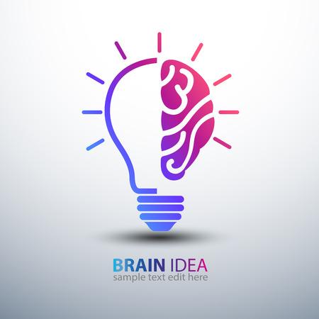 creative brain: Creative brain Idea concept with light bulb icon  illustration Illustration