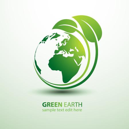 Zelená země koncept s listy ilustrační