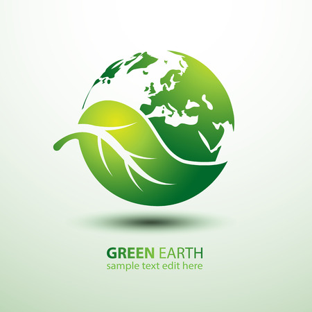 protect icon: Green earth concept with leaves illustration
