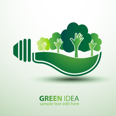 Ecology idea green bulb with plant illustration