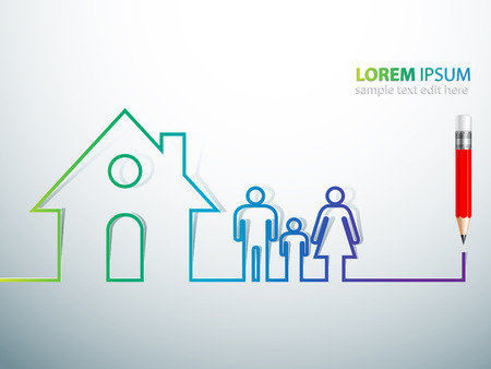 Happy family in house concept illustration Vector