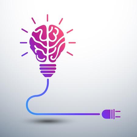 Creatieve brein Idee concept met gloeilamp en plug pictogram, vector illustratie Stockfoto - 30682856