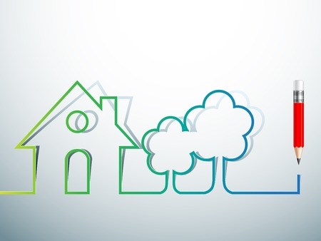 residents: design green house Real Estate icon with pencil  Vector design