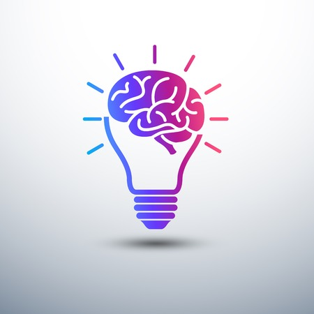 Creative brain Idea concept with light bulb icon ,vector illustration Illustration