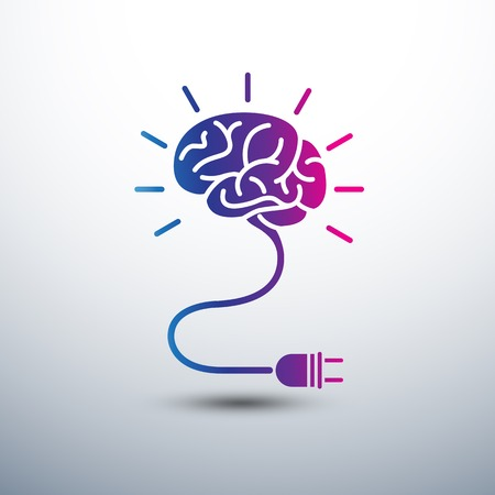 Creative brain Idea concept with light bulb and plug icon ,vector illustration
