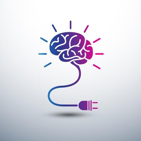 Concepto creativo Idea cerebro con la bombilla y el icono de enchufe, ilustración vectorial Vectores