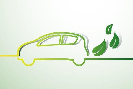 car leaf: Eco car concept green drive with leaf symbol,vector illustration Illustration
