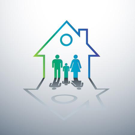 Happy family dans la maison notion illustration vectorielle Vecteurs