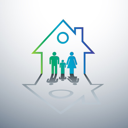 home protection: Happy family in house concept vector illustration Illustration