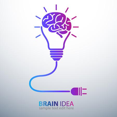 Creative brain Idea concept with light bulb and plug icon ,vector illustration Vector