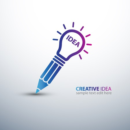 pencil symbol: Creative Idea concept with pencil and  light bulb icon ,vector illustration Illustration
