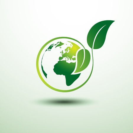 Green earth concept with leaves