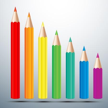 blue green background: colorful pencil set vector illustration Illustration
